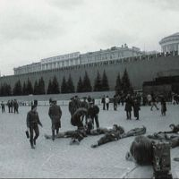 "1991 – action ""E.T.I. – text"" on Red Square, photo of our activist"